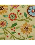 Flores fondo amarillo y topos