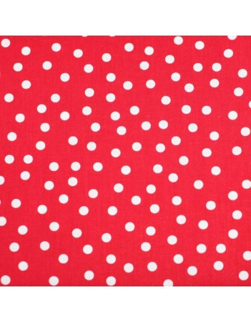Topos blancos fondo rojo