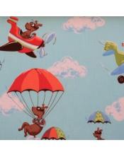 Infantil azul con aviones grandes