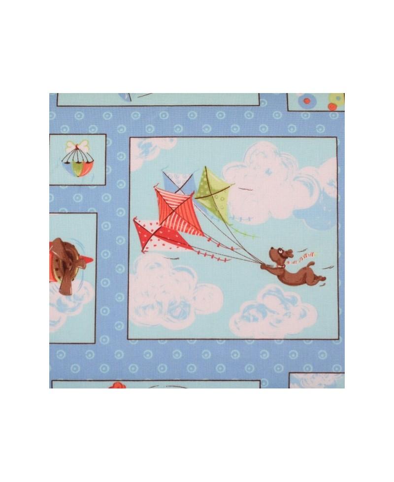 Infantil azul con cuadros de aviones y cometas