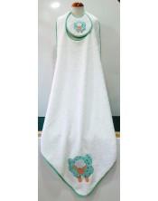 Toalla baño para bebé 90 x 90 con babero, blanca