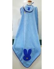 Toalla baño para bebé 90 x 90 con babero. Azul